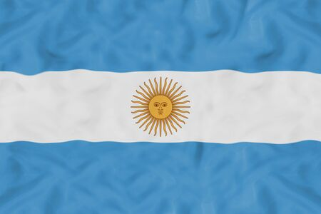 Argentina national flag with waving fabric Foto de archivo