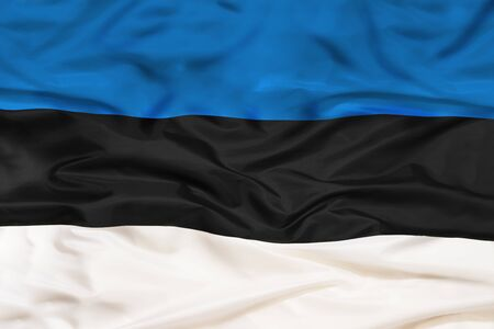 Estonia national flag with waving fabric 写真素材