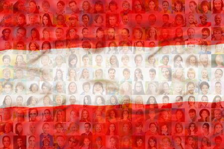 Many diverse faces on Austria national flag Imagens