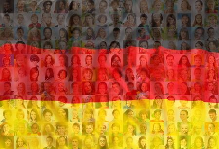 Many diverse faces on Germany national flag