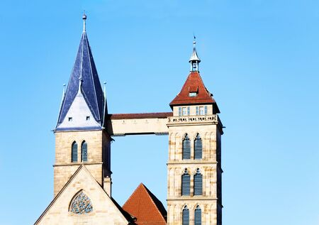 Twin bell tower of St. Dionysius church, Esslingen