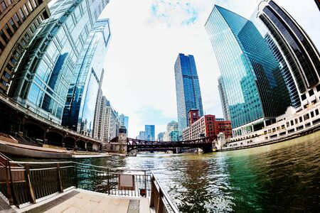 Chicago downtown river cityscape with skyscrapers, USA Stock Photo