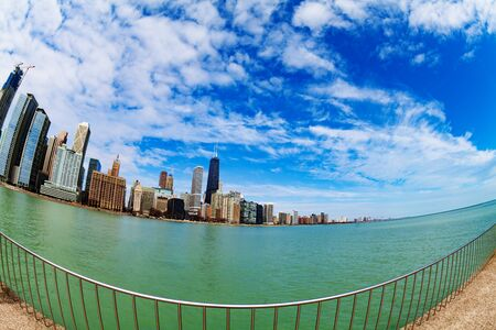 Waterfront of Chicago downtown and lake Michigan Stok Fotoğraf