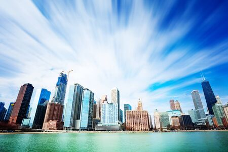 Chicago view downtown from water of Michigan lake Stok Fotoğraf