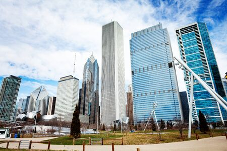 Chicago Maggie Daley park and skyscraper buildings