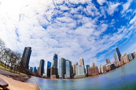 Park and Michigan lake waterfront in Chicago Stok Fotoğraf