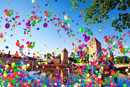 Grande-Ile-Insel Straßburg, Frankreich, Luftballons
