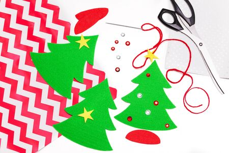 Elements for homemade Christmas gift wrapping on white