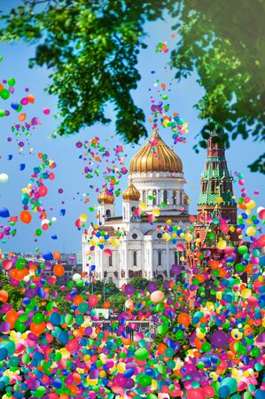 Cathedral of Christ from Kremlin with air balloons