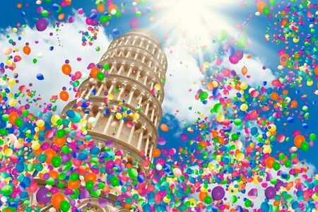 Pisa leaning tower Italy low angle, air balloons 免版税图像