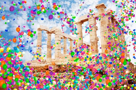 Temple of Poseidon, cape Sounion and air balloons