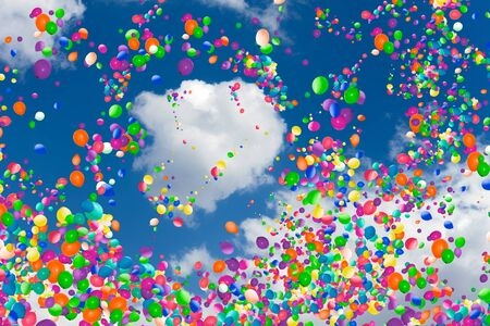 Cloud in the sky with many color air balloons