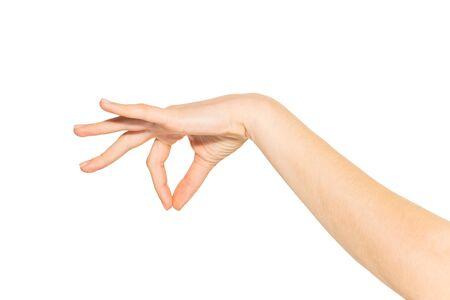 Empty hand holding something between fingers close-up 版權商用圖片 - 128655453