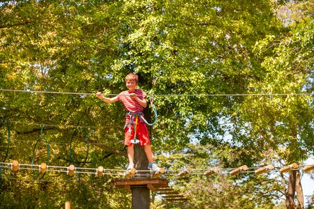 Portrait of the boy on rope suspended tree bridge