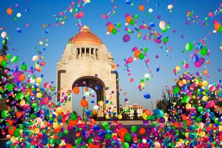 Revolution Monument, Mexico city with air balloons