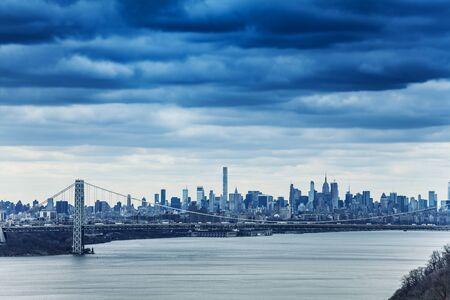 Skyline of New York and George Washington bridge
