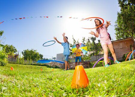 Kids target practice with hoops rings game