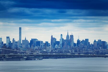 New York downtown from north over Hudson river 写真素材