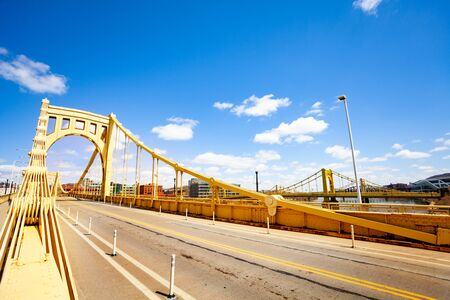 Road on Roberto Clemente Bridge in Pittsburg