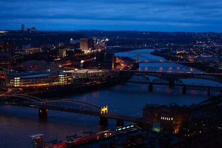 Bridges over Monongahela river, Pittsburg at night