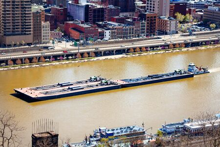 Freight river transport ship barge in Pittsburg