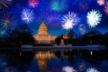 Washington DC Campidoglio degli Stati Uniti, celebrazione dei fuochi d'artificio USA