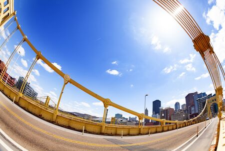 Wide angle image photo of Roberto Clemente Bridge over Ohio river, Pennsylvania, USA 免版税图像