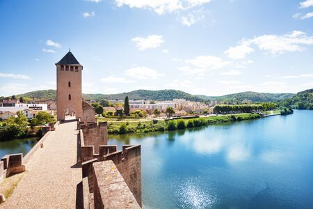 Lot river, Cahor town from Valentre bridge France