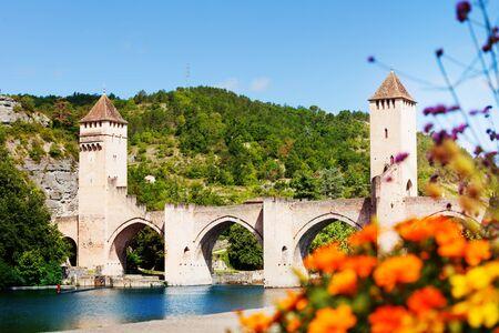Valentre bridge in Cahor on Lot river, France