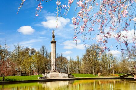 Memorial column in Lake Elizabeth west park in Pittsburg, Pennsylvania, USA