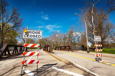 Bridge with closed road signs in USA Pittsburg