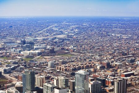 Long view of Chicago city suburb area from above