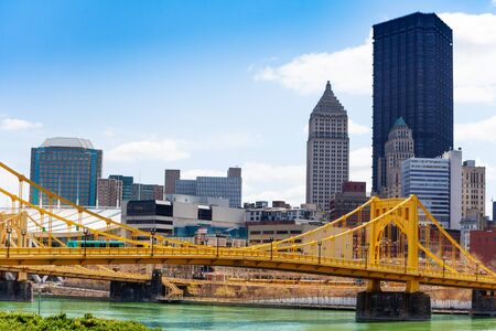 Pittsburg downtown and Roberto Clemente Bridge view