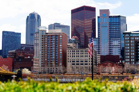 US national flag and downtown buildings, Pittsburg