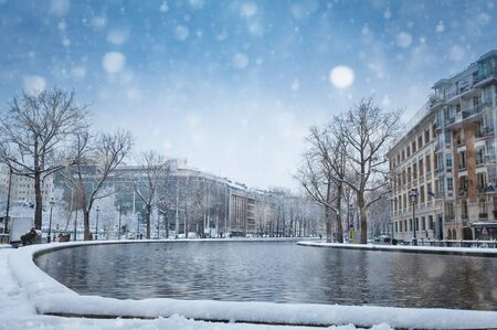 Snow covered Bassin de la Villette in Paris