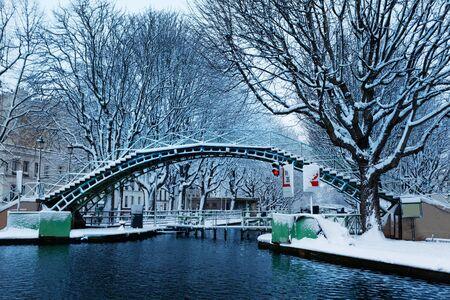Snow covered pedestrian bridge, Canal Saint Martin