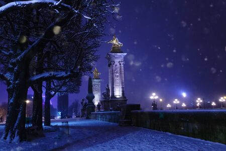 Bridge Alexandre III during night and snow , Paris