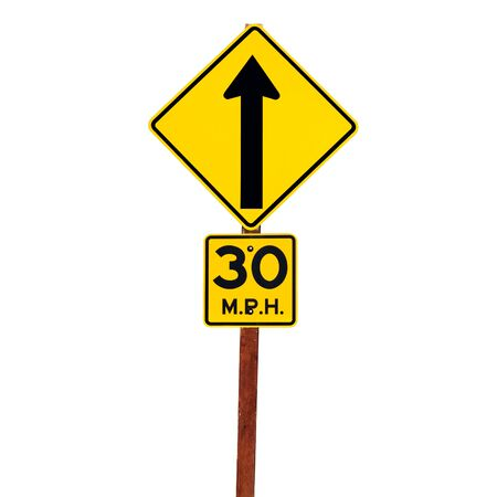 Road arrow sign with 20 mph speed limit on white Standard-Bild
