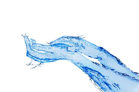 Two touching hands made of liquid blue water on white