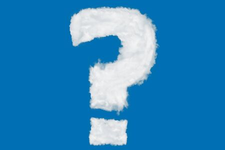 Question mark font symbol shape element made of clouds on blue background over sky