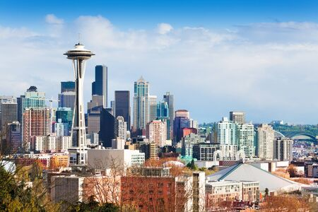 Seattle downtown buildings panorama view from Queen Anne hill, Washington, USA Stock Photo