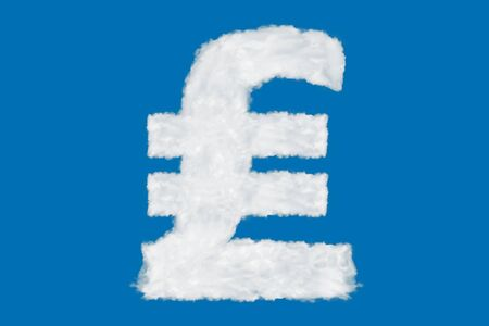 Italian Lira currency sign element made of clouds on blue background over sky