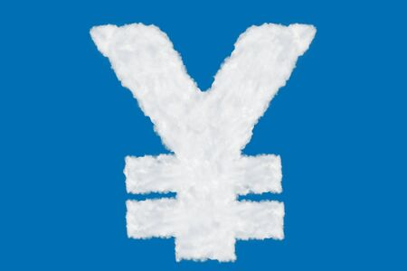 Japan yen currency sign element made of clouds on blue background over sky