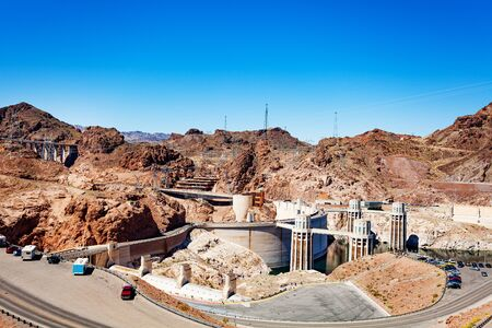 Infrastructure panorama of Hoover Dam in the Black Canyon of the Colorado river on Nevada Arizona border