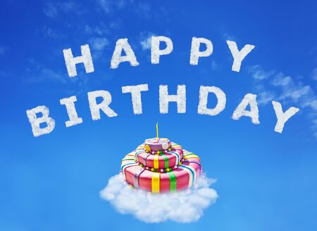 Happy birthday cake and sign made of clouds letters over blue sky with
