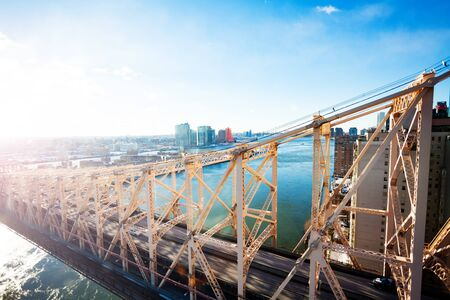 Ed Koch Queensboro or 59th Street Bridge from New York over Queens, East river and Hudson Stock Photo