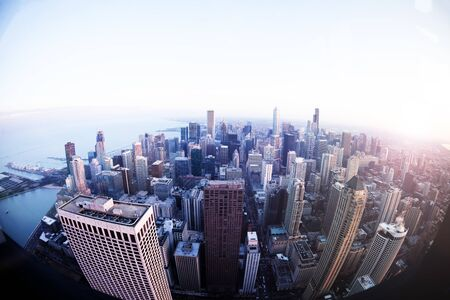 Bird eyes view panorama of Chicago city at downtown at evening dusk skyscrapers and streets, Illinois USA