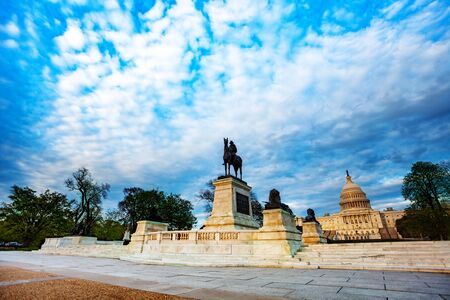 Ulysses S. Grant Memorial statue over United States Capitol Building home of the USA Congress