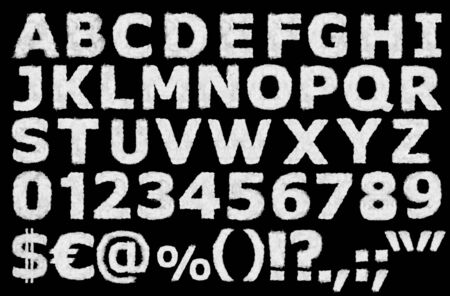 English alphabet numbers, punctuation and special characters made of clouds on black background ready for mask or blending modes