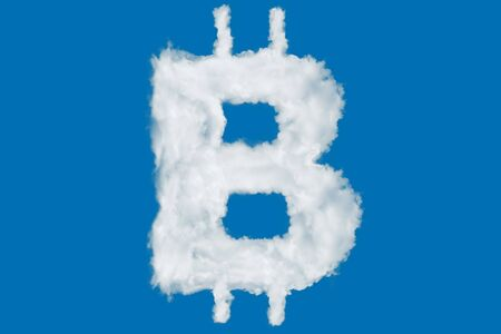 Bitcoin crypto currency sign element made of clouds on blue background over sky